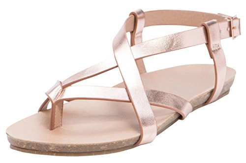 Cambridge Select Womens Cisscross Strappy Thong Buckle Slingback Platte Sandaal Rose Goud Pu