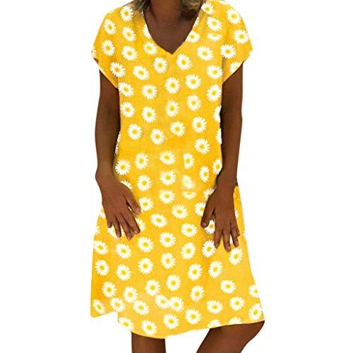 YKARITIANNA 2019 Fashion Women V Neck Summer Dress Short Sleeve Casual Floral Printed Mini Dress Yellow