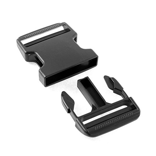 Gourd Plastic Clasp Side Release Buckle 2 Inches Webbing Strap Black, 2 Pairs