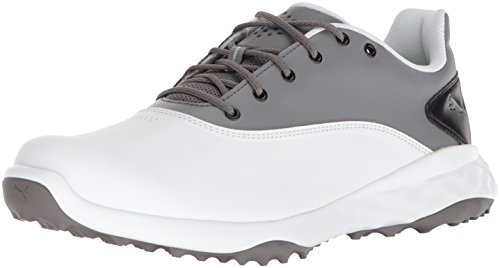 PUMA Golf Men's Grip Fusion Golf Shoe, White/Quiet Shade/Black, 10 Medium US
