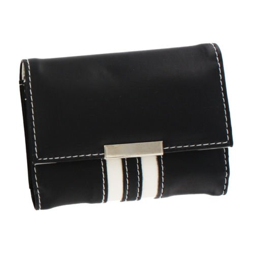 1pc - Leatherette Business Card Case Black w/White (Black Leatherette Card Case)