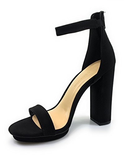 Strap With 5 Nu Single 04 Chunky 8 Ankle Rampage Womens Sandal Buck Bamboo Black Heel Band RgWqvgF8