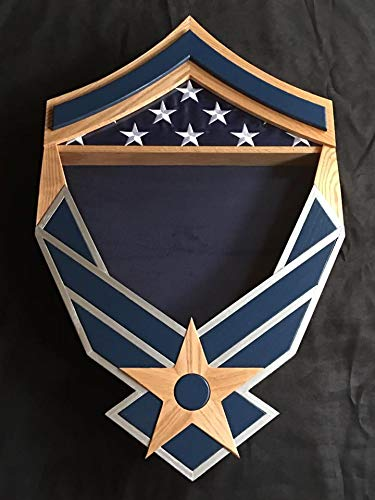 Air-Force-Master-Sergeant-Chevron-Falcon-Shadow-Box-Silver-and-Navy
