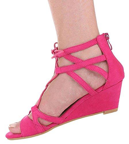 Damen Sandaletten Schuhe Keilabsatz Wedges Schnürung Schwarz braun camel pink 36 37 38 39 40 41 Pink