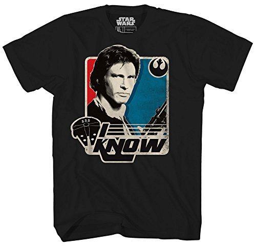 Han Solo I Know Princess Leia Star Wars Millennium Falcon Retro Vintage Classic Funny Humor Pun Mens Adult Graphic Tee T-Shirt (X-Large)