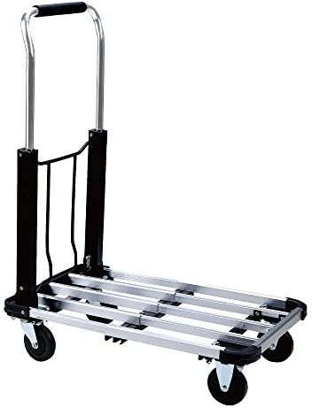 Foldable Push Cart Aluminum Alloy Platform Cart with 4-Wheel, 330-LB Capacity