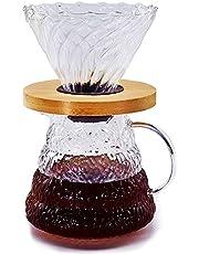 Sishynio Glass Coffee Dripper Set, Pour Over Coffee Maker, 600ml Pot and Filter Mug