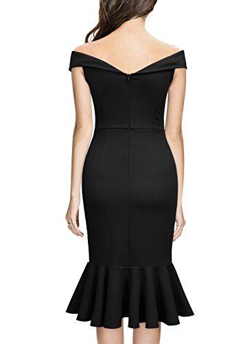 Evening Elegant Women's black Off Slim Style Shoulder E Party Knitee Dress TY16xq6