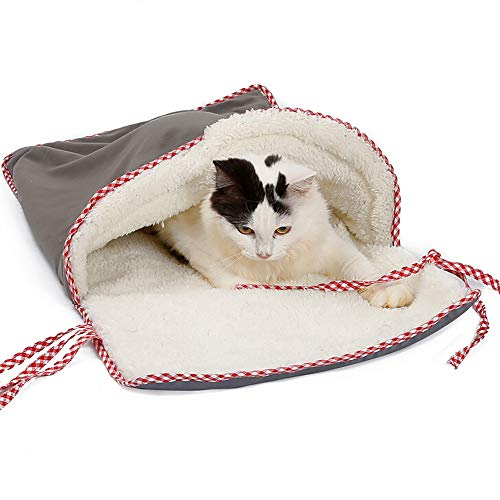 shijiazhuangxingxinjiaju Super Thick Soft Litter Cat Sleeping Bag Cat Sleeping Mat Pet Playing Tunnel Warm House (38x70cm, Gray)