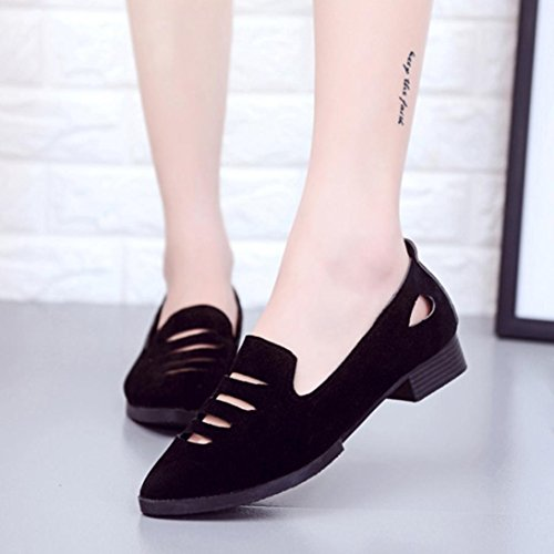 Fheaven Womens Flats Loafers Hollow Pointed Toe Casual Shoes Sandals Black m34Qn3kCW