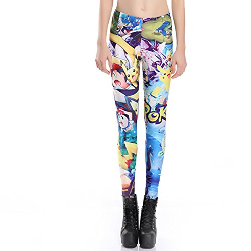 MWBAY Womens Pokemon Leggings Gifts Sports Yoga GYM Trousers Streetnic Work Out Fitness Pants