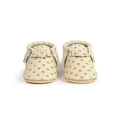Freshly Picked Soft Sole Leather Baby Moccasins - Heirloom in Cream and Gold - Size 2 by Freshly Picked