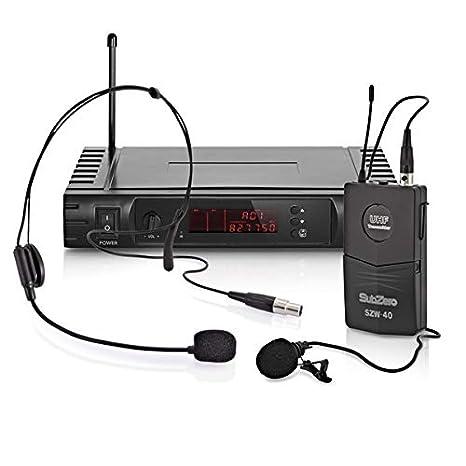 SubZero SZW-40 Sistema de Microfono Inalambrico de Diadema y ...