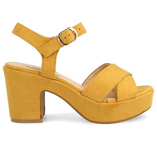 Plataforma Sandalias Y Mujer Ajustable Primavera Verano De Cruzadas Con Hebilla Amarillo 2019 Cierre Tiras EwFaUqCw