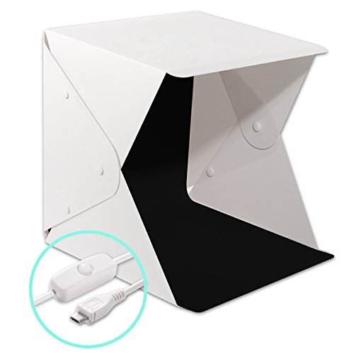 Donwell Portable Photo Studio Light Box Folding Photography Shooting Tent Kit with LED Lights and Background ( size: 9.8' x 9.5' x 9' )