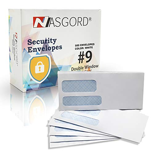500#9 Double Window Self Seal Security Envelopes - Designed for Documents, Invoices & Statements with Peel & Seal Flap 26 lb.