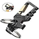 Hephis Heavy Duty Key Chain Bottle Opener - Carabiner Car Key Chains for Men and Women(Black and Gold)