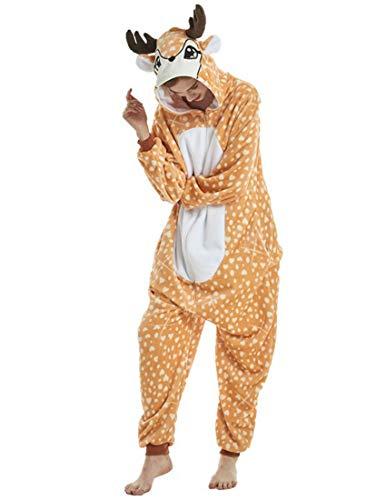 RECM Unisex Adult Elk Deer Cosplay Costumes Onesie Pajamas for Women Gift M]()