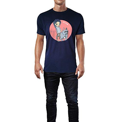 SINUS ART® Kleines Mädchen mit Bulldogge Herren T-Shirts in Navy Blau Fun Shirt mit tollen Aufdruck