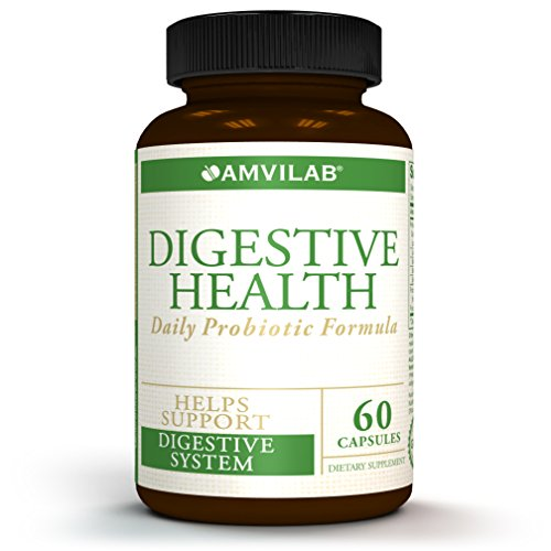 Amvilab Digestive Health Supplement,Daily Probiotic 7 Billion CFUs per Capsule,5 Essential Strains Including Lactobacillus GG. Supports Intestinal and Immune Health. 60 Capsules