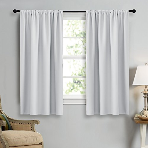 NICETOWN Greyish White Window Curtain Panels - Thermal Insulated Rod Pocket Room Darkening Curtain Sets for Bedroom (Platinum - Greyish White,2 Panels,42 by 45) by NICETOWN (Image #2)