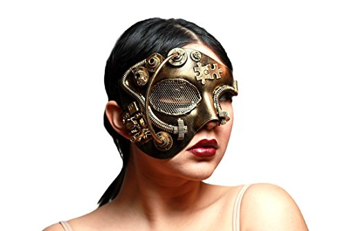 Metallic Steampunk Phantom Half Face Masquerade -