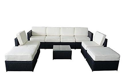 MCombo 6085 S1009 9 Piece Wicker Patio Sectional Indoor Outdoor Sofa  Furniture Set, Black