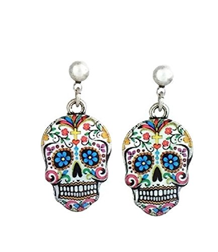Pizazz Studios Sugar Skull Dangle Earrings White Silver Tone -