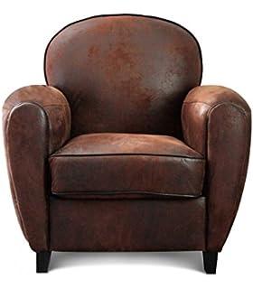 wadiga fauteuil club aspect cuir vieilli marron