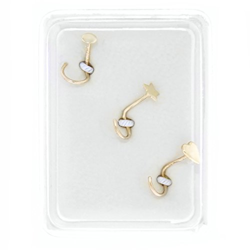 - 10K Yellow Gold 2mm Circle Star Heart Nose Ring Set