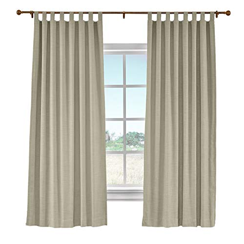 cololeaf Faux Linen Curtain Tab Top Drapery Panel with Blackout Lining for Traverse Rod Ring Clip or Track,Grey Beige 100W x 84L Inch (1 - Striped Top Tab Curtains