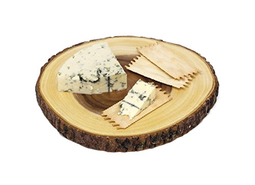 Lipper International 1040 Acacia Wood Slab Serving Board With Bark for Cheese, Crackers, and Hors D'oeuvres, Set of 3, Assorted Sizes by Lipper International (Image #5)