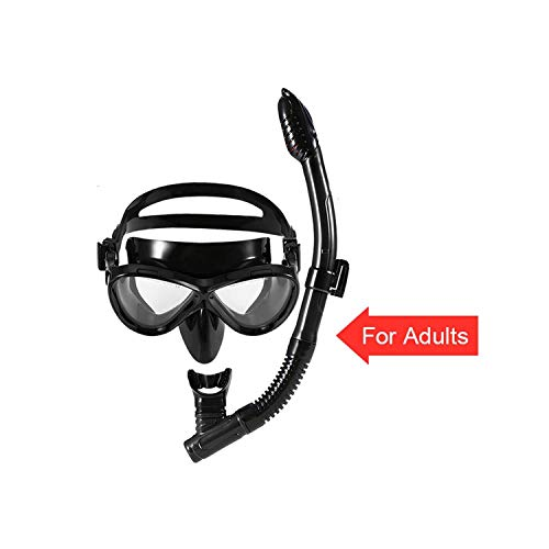 I Need-You Snorkeling Goggles Kids Scuba Diving Mask Tube Set Snorkeling Mask Goggles Glasses Swimming Easy Breath Dry Snorkel,Black for Adult -