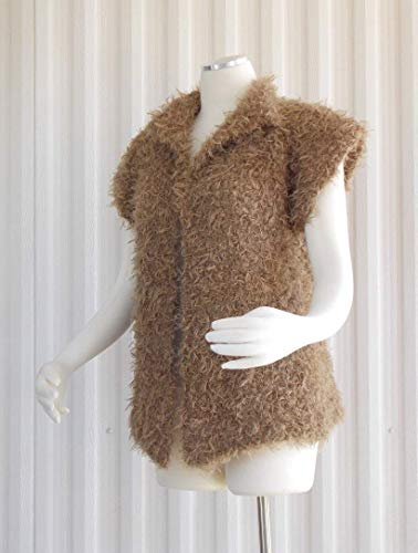 Hand Knit Vest, Hand Knit Sweater Vest, Womens Sweater Vest Camel Curly Soft Mohair Accent Sweater Limited Edition