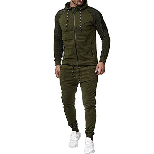 SANFASHION Men's Tracksuits Set Gradient Long Sleeve Full Zip Hooded Sweatshirt and Long Trouser Set Gym Tracksuit Set…