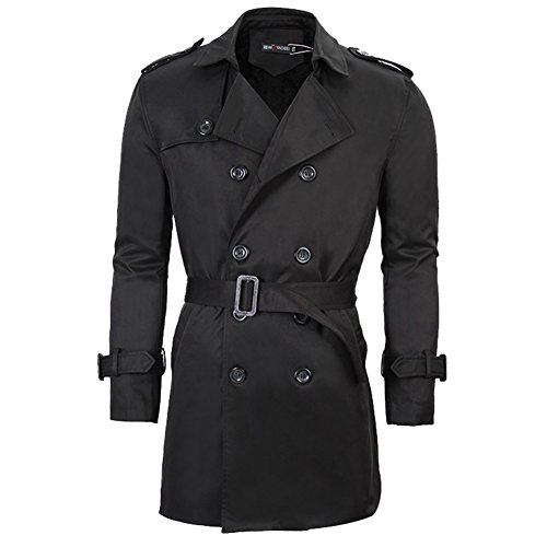 Black Mens Trench Coat Belt Winter Thick Double Breasted Jacket Overcoat Outwear