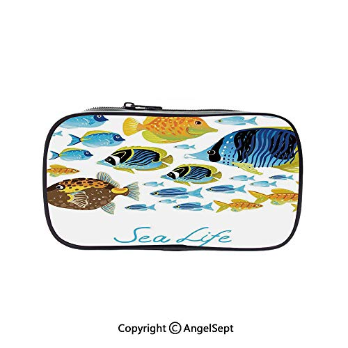 - Two Big Pockets for Executive Fountain Pen,Vivid Underwater Life with Freshwater Tropical Fish Creatures Sea Artwork Multi 5.1inches,Multi-Functional 72 Slots Colored Pencil Case