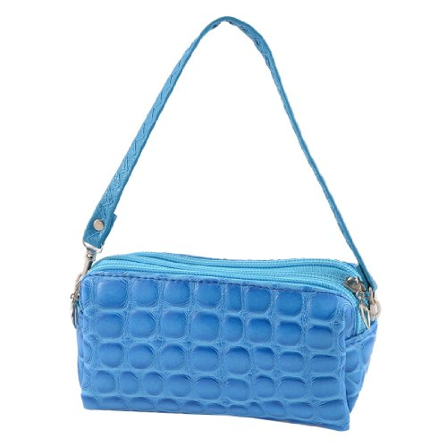 Allegra K Crocodile Pattern 3 Compartments Zip Up Faux Leather Handbag Purse, Bags Central