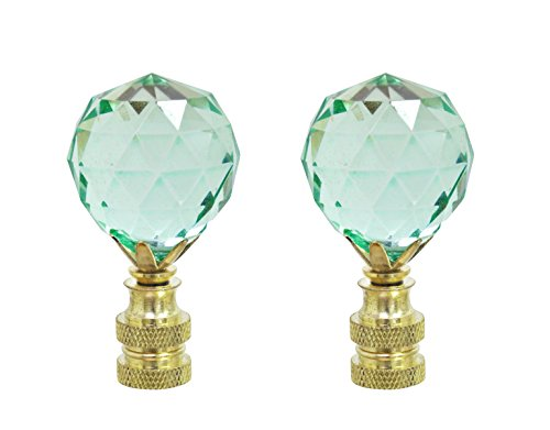 Plated Green Crystal - Aspen Creative 24007-22 Light Green Faceted Crystal Lamp Finial in Brass Plated Finish, 2 1/4