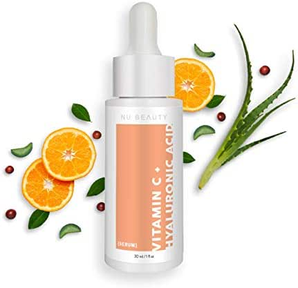 Organic Vitamin C and Hyaluronic Acid Face and Eye Serum with Collagen and Aloe - Skin Care for Brightening, Anti-Aging, Anti-Wrinkle, Acne and Dark Circles
