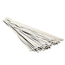 QUWEI 100pcs 11.8 Inches Stainless Steel Exhaust Wrap Coated Locking Cable Zip Ties