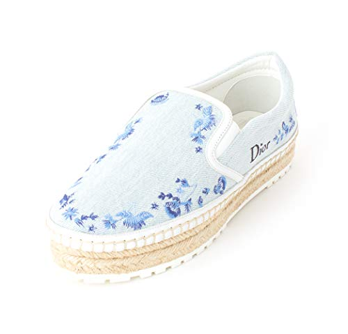 (Dior Christian Womens Prairie Low Top Slip On Fashion Sneakers, Blue, Size 6.5 )