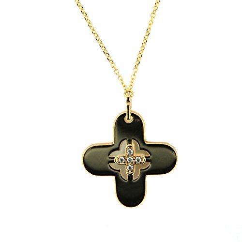 18K Yellow Gold Diamond Cross and Mother of pearl Pendant with 16 inch chain DI=0.02 tt ct by Amalia