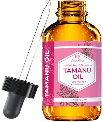 Tamanu Oil by Leven Rose, 100% Pure Organic Unrefined Cold Pressed for Hair Skin Nails Acne and Scars In Dark Amber Glass Bottle with Glass Dropper 1 oz