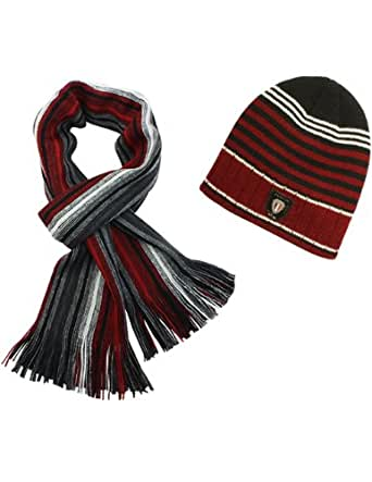 Acrylic Men's Fashion Classic Colorful Stripes Cap Hat Scarf Set - Red