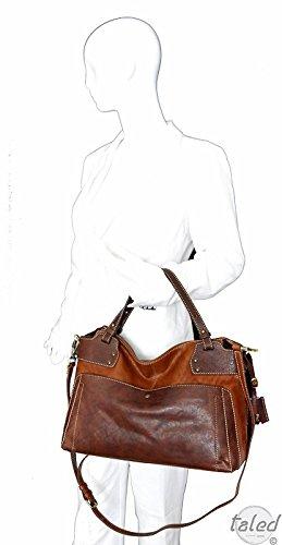 Gianni Conti , Sac pour femme à porter à l'épaule Marron Cognac 28 x 40 x 15 cm