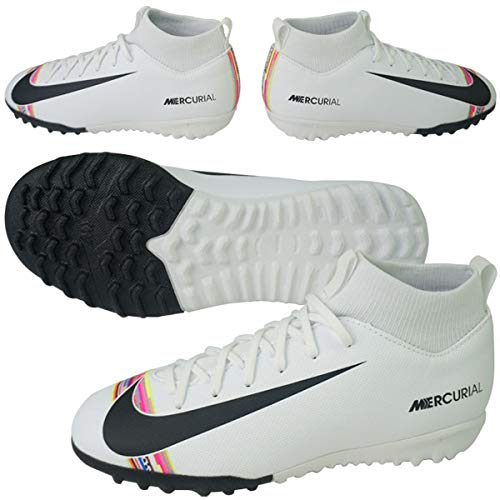 Nike Youth Soccer SuperflyX 6 Academy LVL UP Turf Shoes (5 M US Big Kid) White/Black