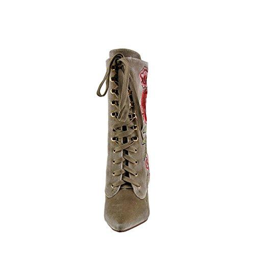 Cape Robbin Mini 108 Kvinna Broderad Snörning Boot Naken