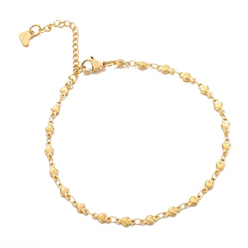 HooAMI Stainless Steel Heart Link Chain Anklet Bracelet Adjustable,Gold Plated