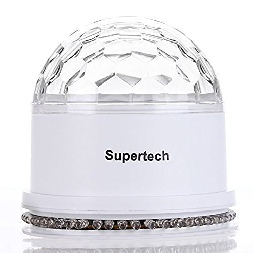 Party Lights,Supertech Muliti Color Changes Sound Actived Auto RGB Mini Rotating Magic Disco Ball Strobe Stage Lights For DJ Dancing Show Concert Xmas Halloween,White